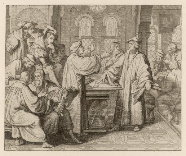 At Leipzig, in disputation with Johann Eck, he denies the supreme authority of popes and councils