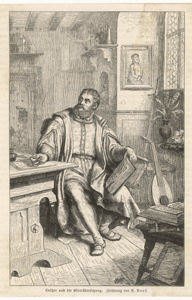 MARTIN LUTHER at work on his translation of the Bible into German
