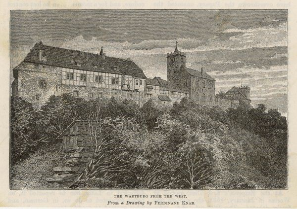 The castle of the Wartburg where he was taken for safety in 1521 by the elector of Sachsen (Saxony) : seen from the west