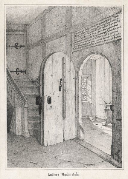 The doorway into Das Lutherzelle, his study in the castle of the Wartburg where he was taken for safety in 1521 by the elector of Sachsen (Saxony)
