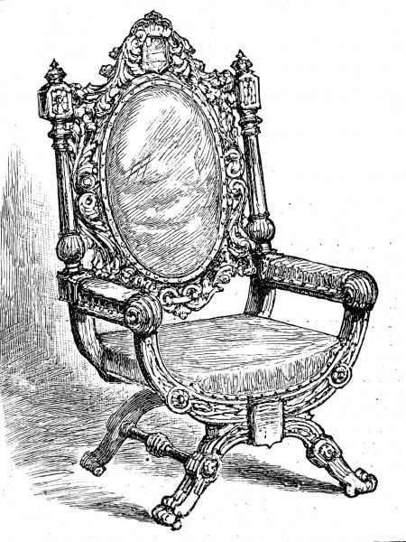 Engraving showing the 'Lutine' chair, which was held at the insurance company, Lloyd's of London, 1886