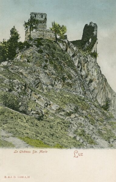Ruins of the St Marie Castle in the Luz Valley in the Pyrenees, southern France