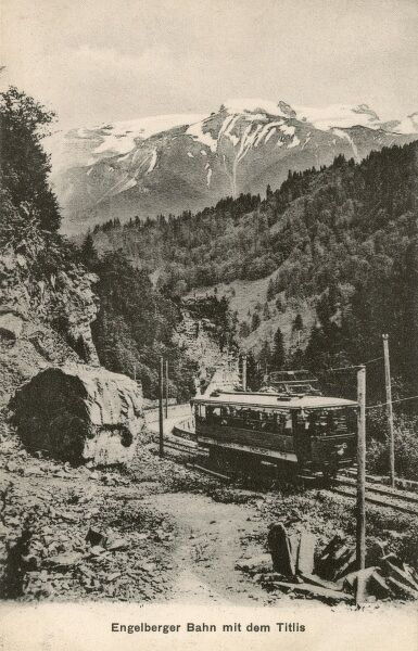 The Luzern-Stans-Engelberg-Bahn (LSE) - a narrow gauge rack railway in Switzerland connecting Lucerne by Stans with a resort near Engelberg. A view toward the Titlis Mountain in the Urner Alps. Date: circa 1910s
