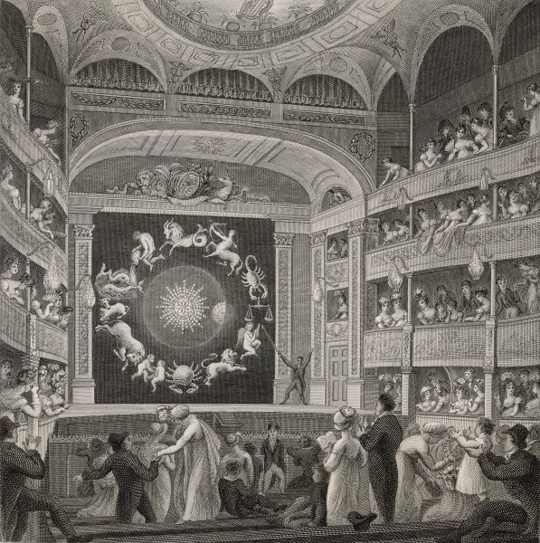 The Proscenium of the English Opera House, in the Strand, formerly the Lyceum : with Walker's display of his EIDOURANIAN (showing the movements of the stars)
