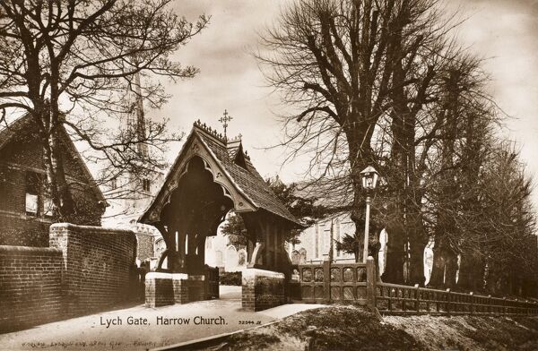 A fine example of a wooden Lych Gate - Harrow Church. Built in honour of John Cunningham, Vicar of Harrow for 50 years (1811-1861)