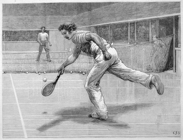 A Lyttleton and C Saunders play real tennis at New Prince's Club in Knightsbridge, London, which was recently opened by the Prince of Wales