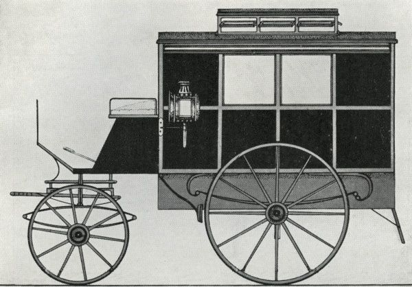 Side view of one of the first ambulances to be operated by London's Metropolitan Asylums Board in the 1880s for transporting fever and smallpox patients to and from the Board's hospitals