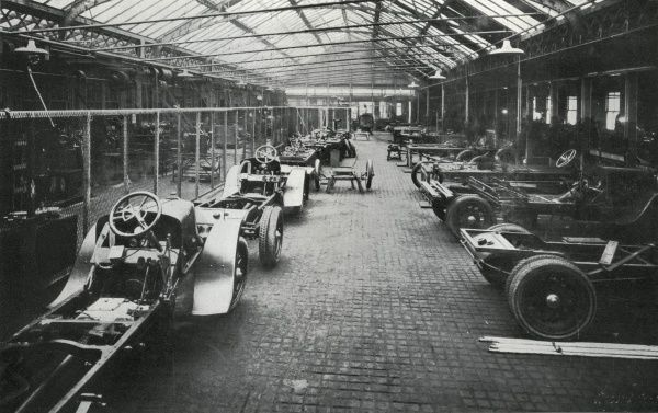 Interior of the Metropolitan Asylum Board's Mead Works on Carnwath Road, Fulham, south west London, used for the building of ambulance bodies, and the repair and maintenance of the Board's large fleet of vehicles