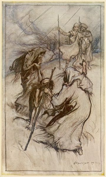 Macbeth and Banquo, after defeating the invading Norsemen, encounter three witches on a blasted heath, who predict wonderful events