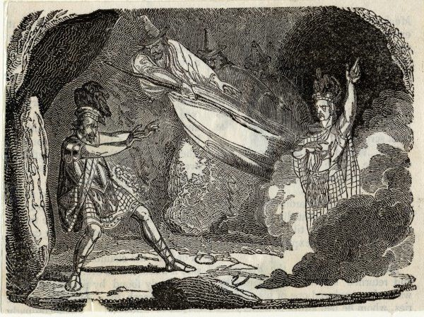 Act IV, Scene I The witches summon the first of 3 apparitions, which predicts that Macduff will unseat Macbeth for the throne