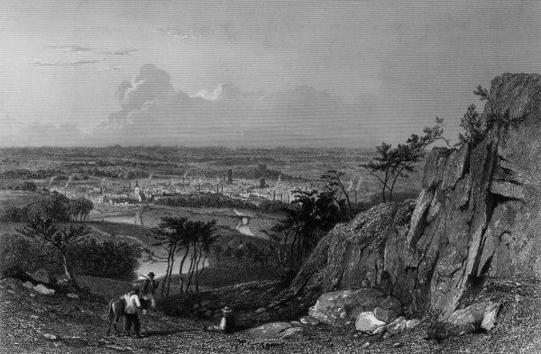 Distant view of Macclesfield, Cheshire Date: circa 1840