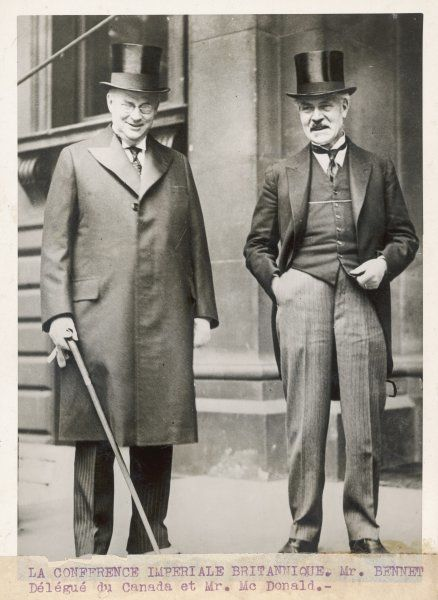 JAMES RAMSAY MACDONALD British Labour politician with Bennet of Canada at an Imperial Conference