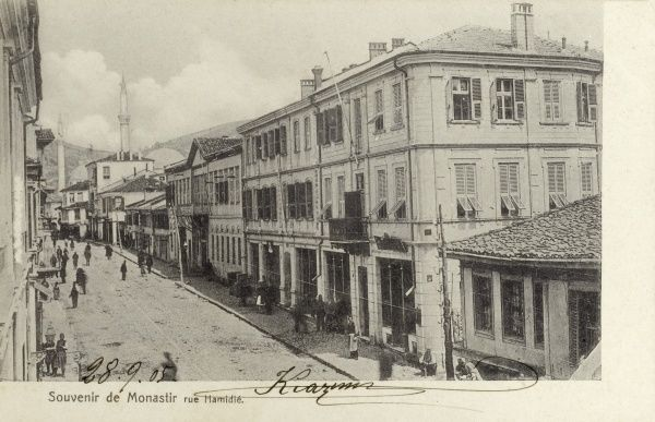 Sultan Hamid Street - Macedonia - Bitola (Monastir) - when under Ottoman rule (as evidenced by the two visible mosques). Date: 1905