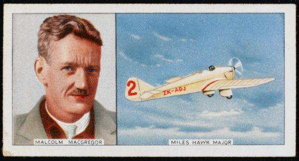 Malcolm MacGregor, New Zealand aviator, and his Miles Hawk Major