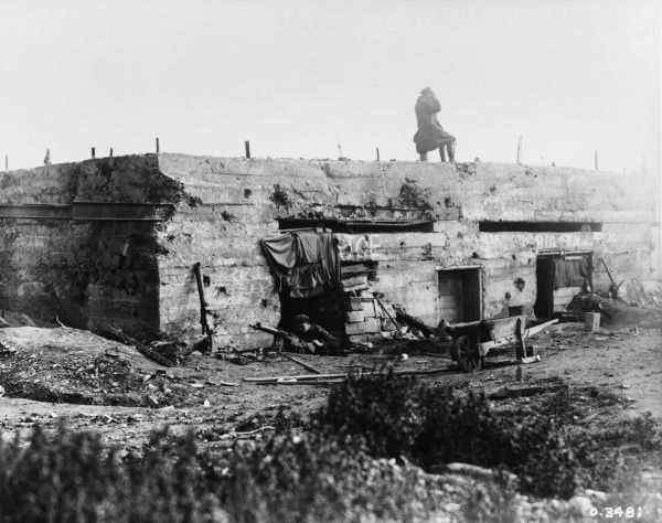 A large reinforced concrete machine gun post in the Queant Line on the Western Front in France during World War I in October 1918