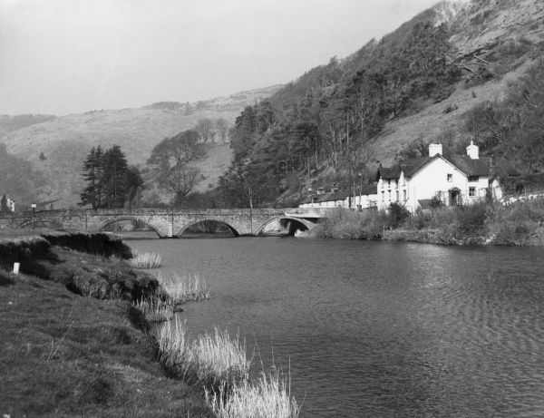 The bridge over the River Dovey at Machynlleth, Montgomeryshire, Wales. Date: circa 1805