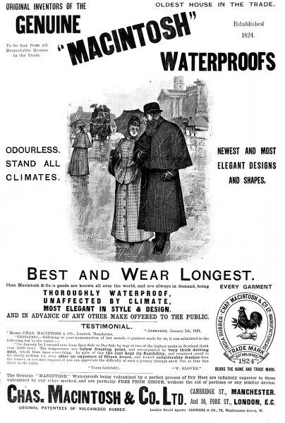 An advertisement for Macintosh waterproofs designed for men and women