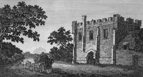 A cart rumbles past the main gate of Mackworth Castle, Derbyshire Date: 1793