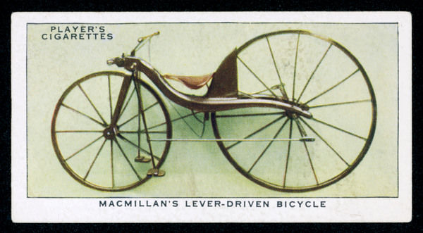 Macmillan's lever-driven bicycle is the first to be fitted with a drive mechanism of any kind