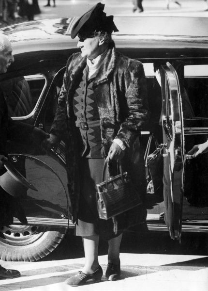 Madame Eugenie Petain, wife of General Petain, seen here during the Second World War, getting out of a car somewhere in Germany. Date: 1944