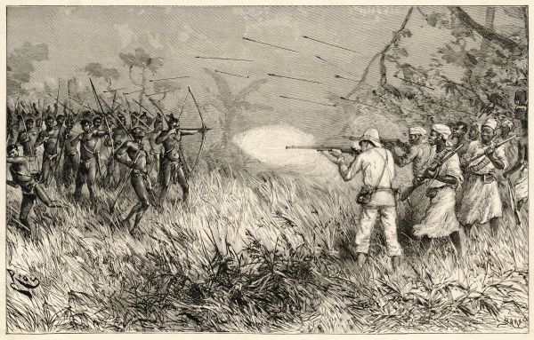 The Madis use bows and arrows against guns during Stanley's Emin Pasha relief expedition