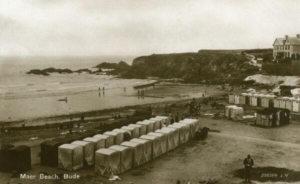 Maer Beach with Bathing Huts, Bude, Cornwall