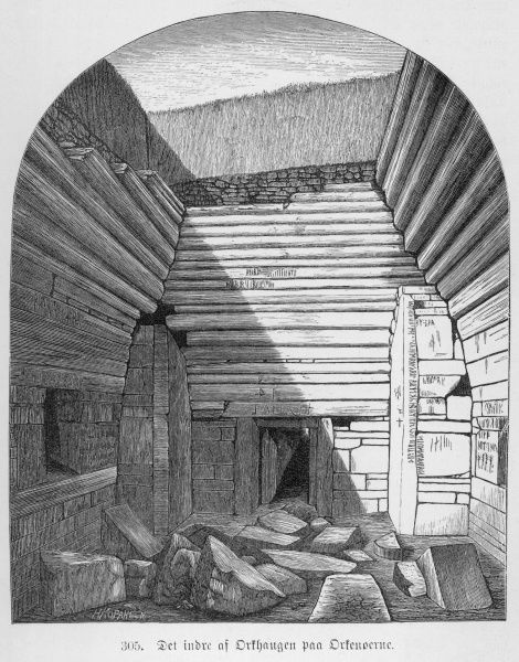 The interior of the Maes Howe chamber shortly after it was re-opened in 1861. Norsemen had already robbed the mound in the 12th century AD and left runic inscriptions