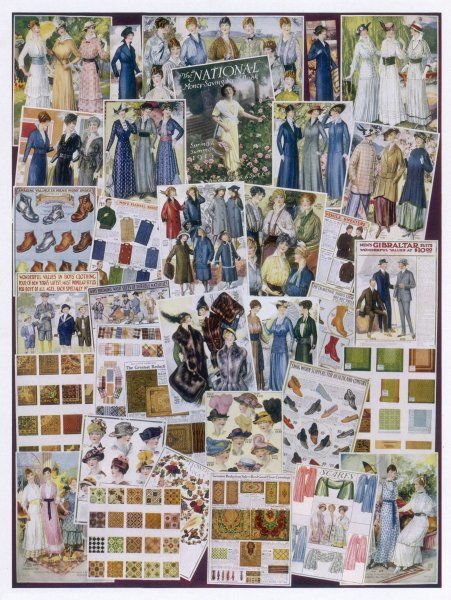Fashion pages from American mail order catalogs of 1916
