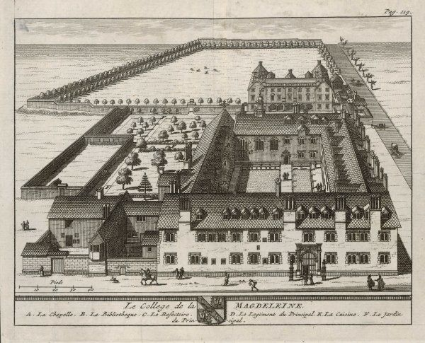 A bird's-eye view of the college showing the chapel, dining hall, library, the Dean's lodgings,the kitchen & garden. One of 39 engravings made of Oxford Colleges by Loggan