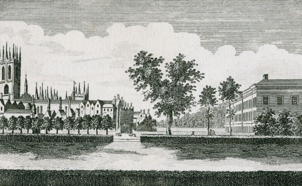 A View of Magdalen College, Oxford, from the east side of the Waterwalk. Date: late 18th century