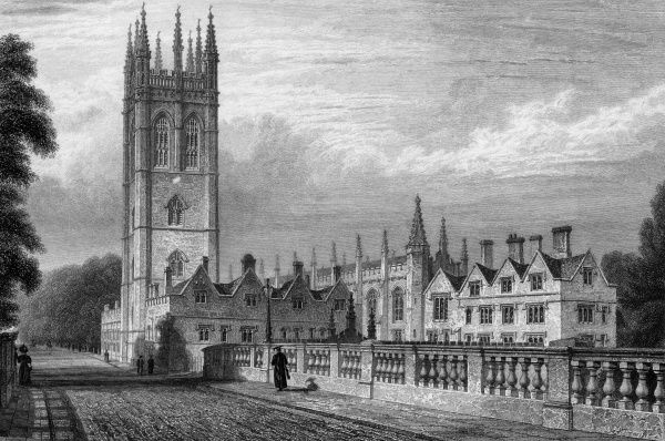 The classic view of Magdalen College and its tower, viewed from Magdalen Bridge which leads into the High Street. Date: circa 1830