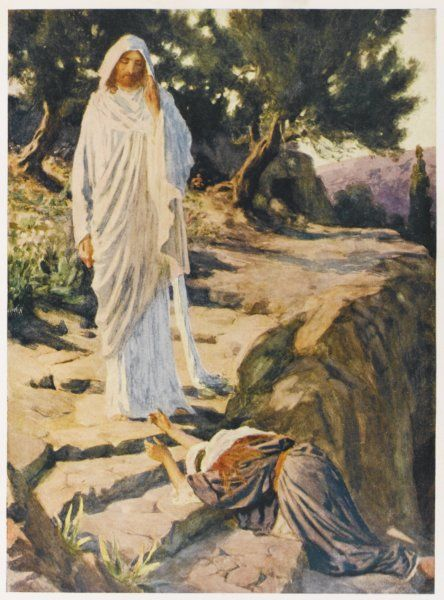 Mary Magdalen sees the risen Jesus, but at first mistakes him for a gardener
