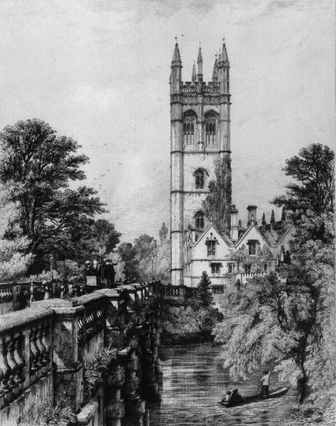 The tower of Magdalen College, Oxford, viewed from Magdalen Bridge which leads into the High Street. Date: circa 1900