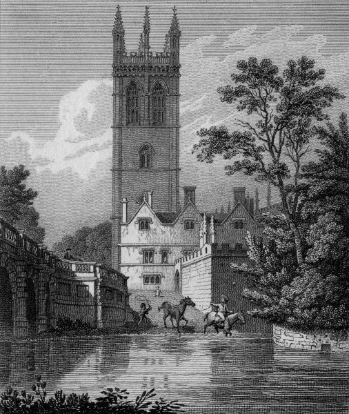 The Tower of Magdalen Tower, Oxford, with Magdalen Bridge (which leads into the High Street) on the left. Date: 1821