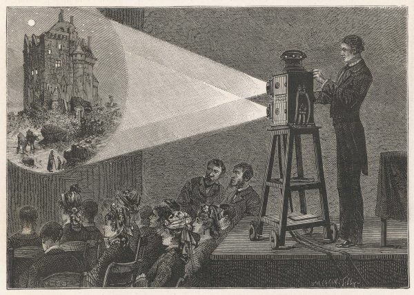 Using a double lantern, which makes it possible to superimpose one image on another, giving a crude illusion of movement
