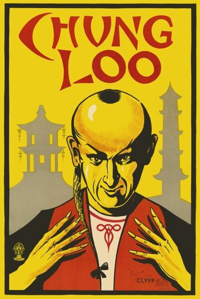 Colour illustrated poster advertising magician Chung Loo, drawn by 'Clyff, dated 13 November 1922. HPF/5B/3
