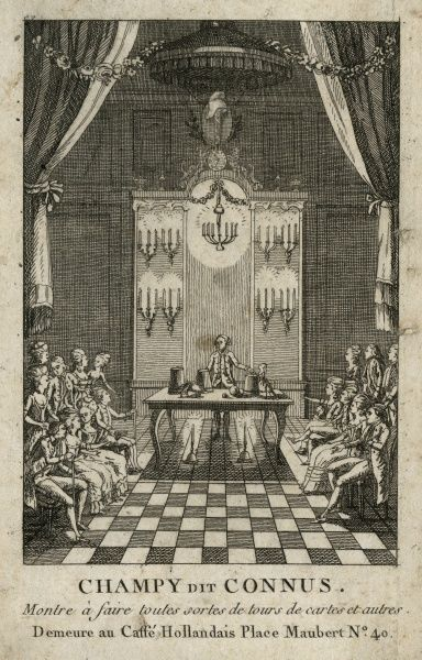 "Undated illustration of a magician performing the cup and balls trick in front of a seated audience, entitled ""Champy dit Connus"". HPG/8/2/1 (xxxi)&quot"