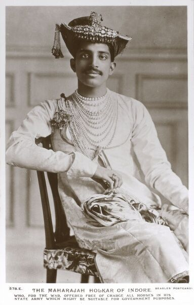 "The Maharajah Holkar of Indore (Tukojirao Holkar III) (reigned 1903-1926). ""Who, for the war, offered free of charge all horses in his State Army which might be suitable for Government purposes"" Date: circa 1916"