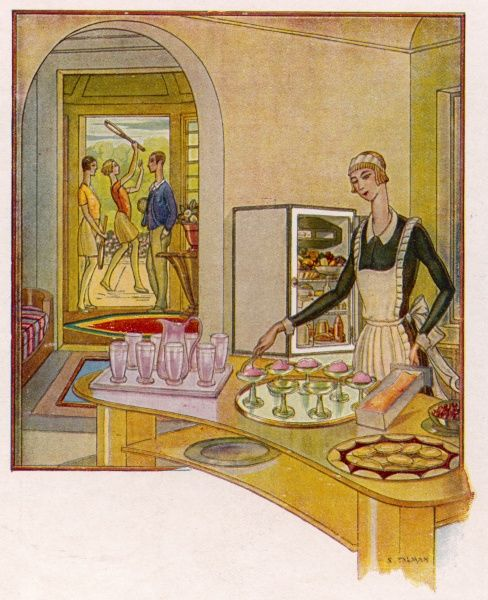 A maidservant prepares a tray of ices for a party of bright young things after their game of tennis