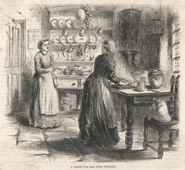 A housemaid comes in with a note while the lady of the house is rolling out pastry