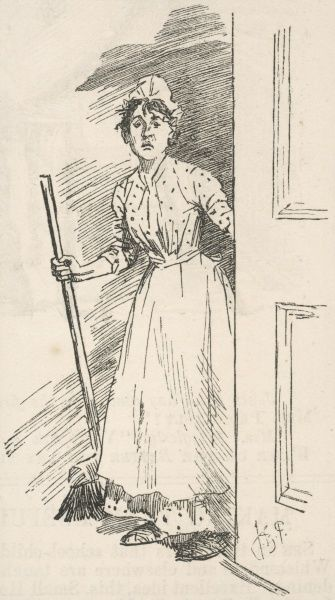 A bedgraggled, very much forlorn and put-upon maid in print frock, apron & mob-cap & with a broom in her hand stands at a doorway awaiting her mistress's bidding