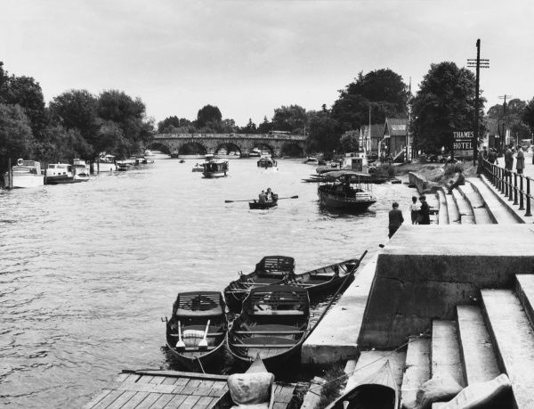 A view of the silvery river Thames at Maidenhead, Berkshire, one of the best known and popular up-river resorts