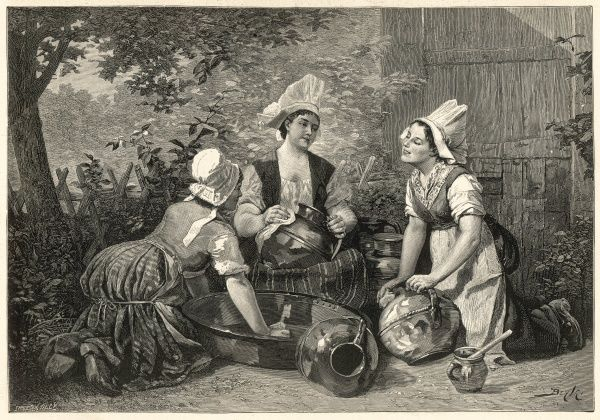Three maids take the opportunity to have a gossip while cleaning the pots outside