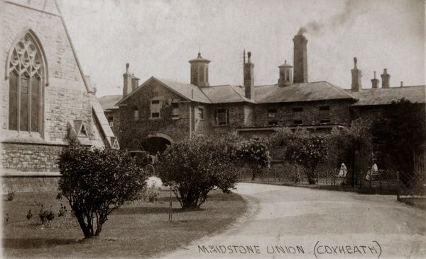 Entrance to the Maidstone Union workhouse. The workhouse chapel is visible at the left. Designed by John Whichcord, the workhouse was erected in 1836 on Heath Road in Coxheath. The site later became Linton Hospital