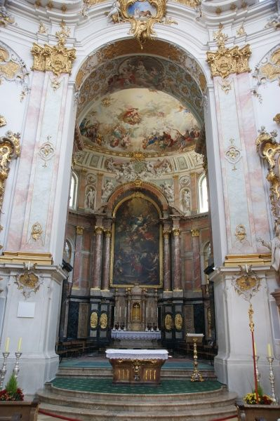 View of the main altar of Ettal Monastery, Upper Bavaria, Germany. This Benedictine monastery was founded in 1330, the first phase of building took place between 1330 and 1370, and there were further additions during the 18th and 19th centuries