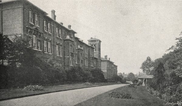 A view of the main building at the Lambeth Schools for workhouse children on Elder Road, West Norwood, South London. A young Charlie Chaplin was briefly a resident of the Schools in 1898