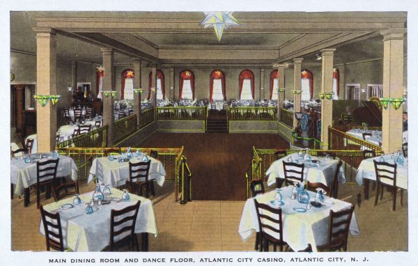 The main dining room and dance floor of the Atlantic City Casino, USA Date: 1920s