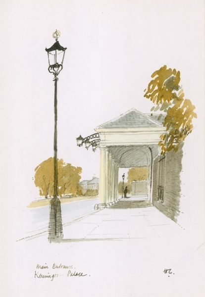 A watercolour and pen painting of the main entrance at Kensington Palace, London