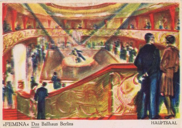 A sketch of the main hall / ballroom in Femina, a fashionable ballroom / cabaret in Berlin Date: 1920s