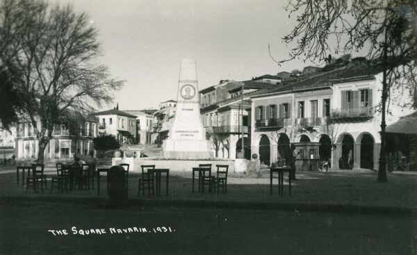 The Main Square - Pylos, Greece. The monument of the Three Admirals. The monument bears the likenesses of British naval commander-in-chief in the Mediterranean, Vice-Admiral Sir Edward Codrington,the French Admiral Henri de Rigny (pictured here)